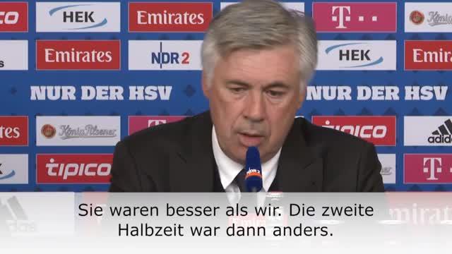 """Ancelotti kritisch: """"HSV war besser als wir"""""""
