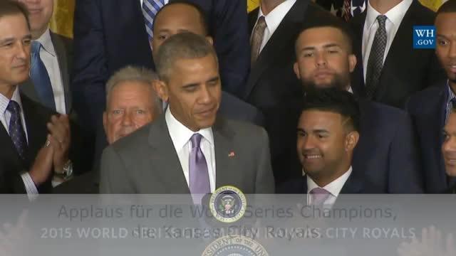 MLB: Obama sorgt für Lacher bei Baseball-Team