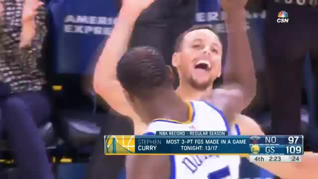 Steph Curry's 13 threes in 45 seconds