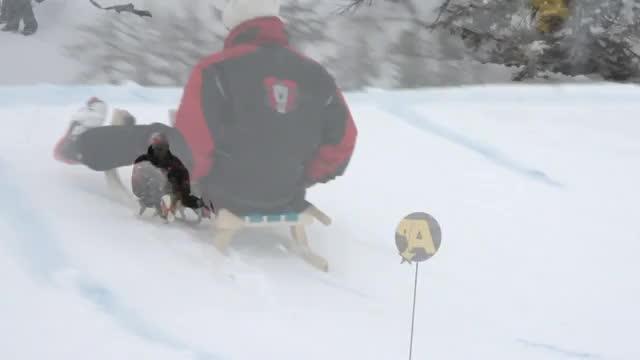 Eddie the Eagle beim Schlittenweitsprung