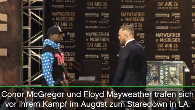 Boxen: McGregor-Hampelmann beim Staredown in LA