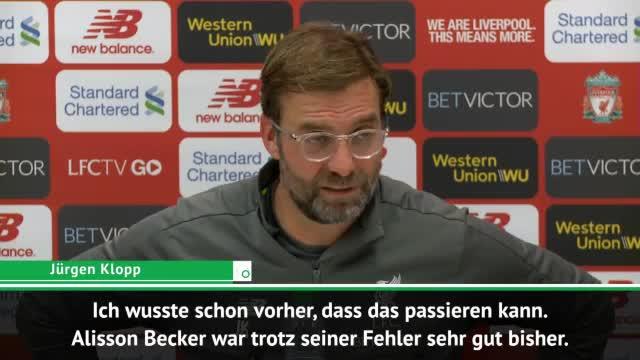 """Klopp: """"Alisson trotz seiner Fehler sehr gut"""""""