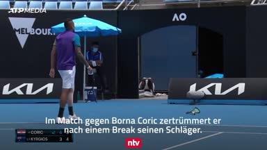 Tennis-Rüpel Kyrgios schleudert Schläger aus Stadion