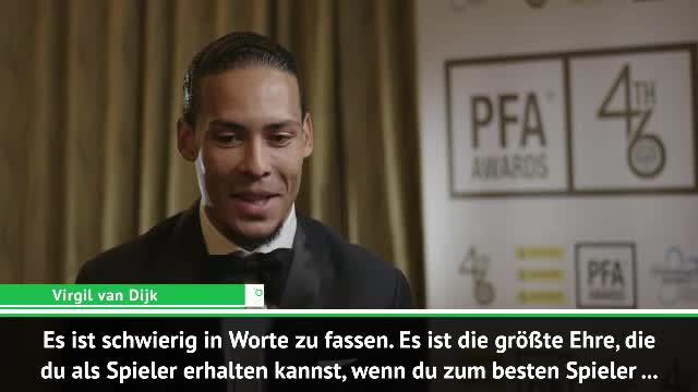 """Van Dijk der Spieler des Jahres: """"Größte Ehre"""""""