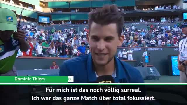 "Indian Wells: Thiem schlägt Federer: ""Surreal!"""