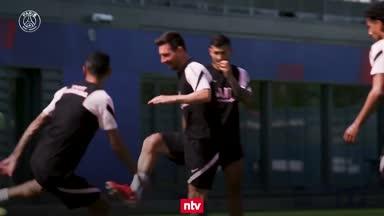 Messis erstes Trainingseinheit bei Paris Saint-Germain