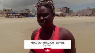 Khadija Sambe kämpft nicht nur gegen die Wellen