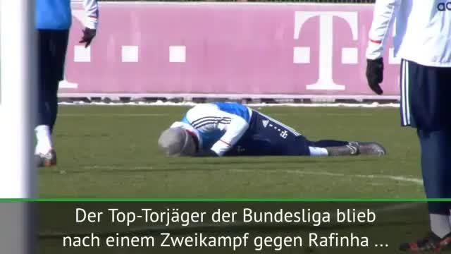Schrecksekunde für Lewandowski im FCB-Training