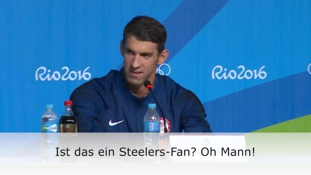 """Schwimmen: Phelps: """"Steelers-Fan? Oh Mann!"""""""