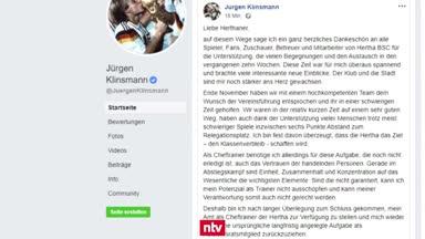 Verkündung  via Facebook: Klinsmann wirft das Handtuch