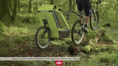 Irre! Mountainbike-Star mit Kinderanhänger