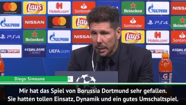 """Simeone schwärmt: Dortmund mit """"tollem Fußball"""""""
