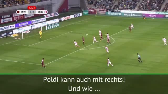 Podolski glänzt mit Rechts-Hammer